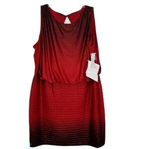 R&M Richards 22W Sleeveless Glitter Blouson Dress